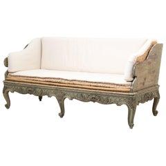 18th Century Swedish Green and White Rococo Sofa