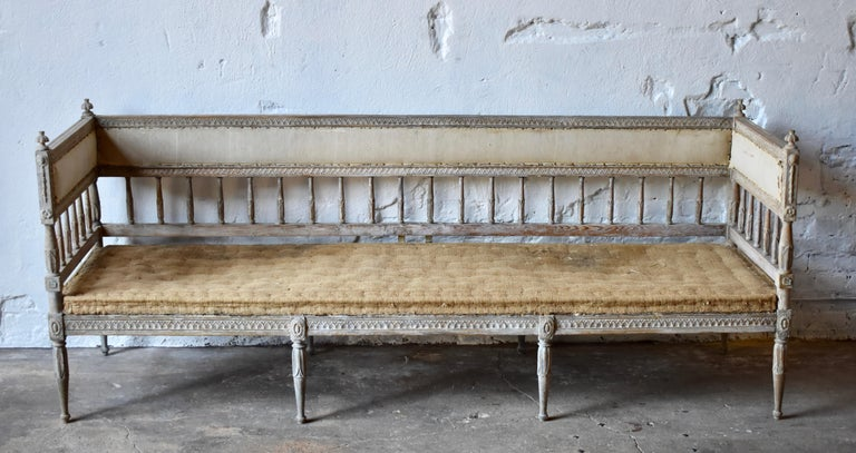 18th century Swedish Gustavian 8-legged sofa  Scraped to original colour, soft blue and antique grey patina.  Floral and lion carvings, turned finals.