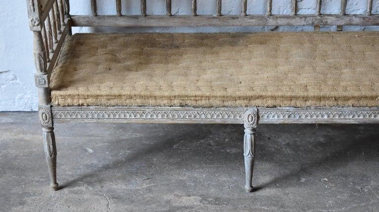 European 18th Century Swedish Gustavian 8-Legged Sofa For Sale