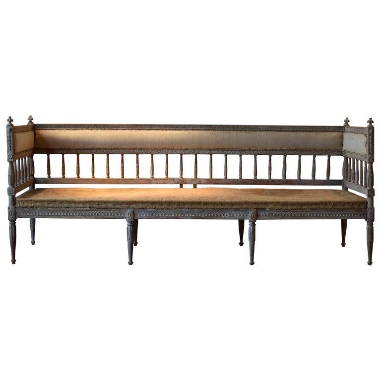 18th Century Swedish Gustavian 8-Legged Sofa For Sale