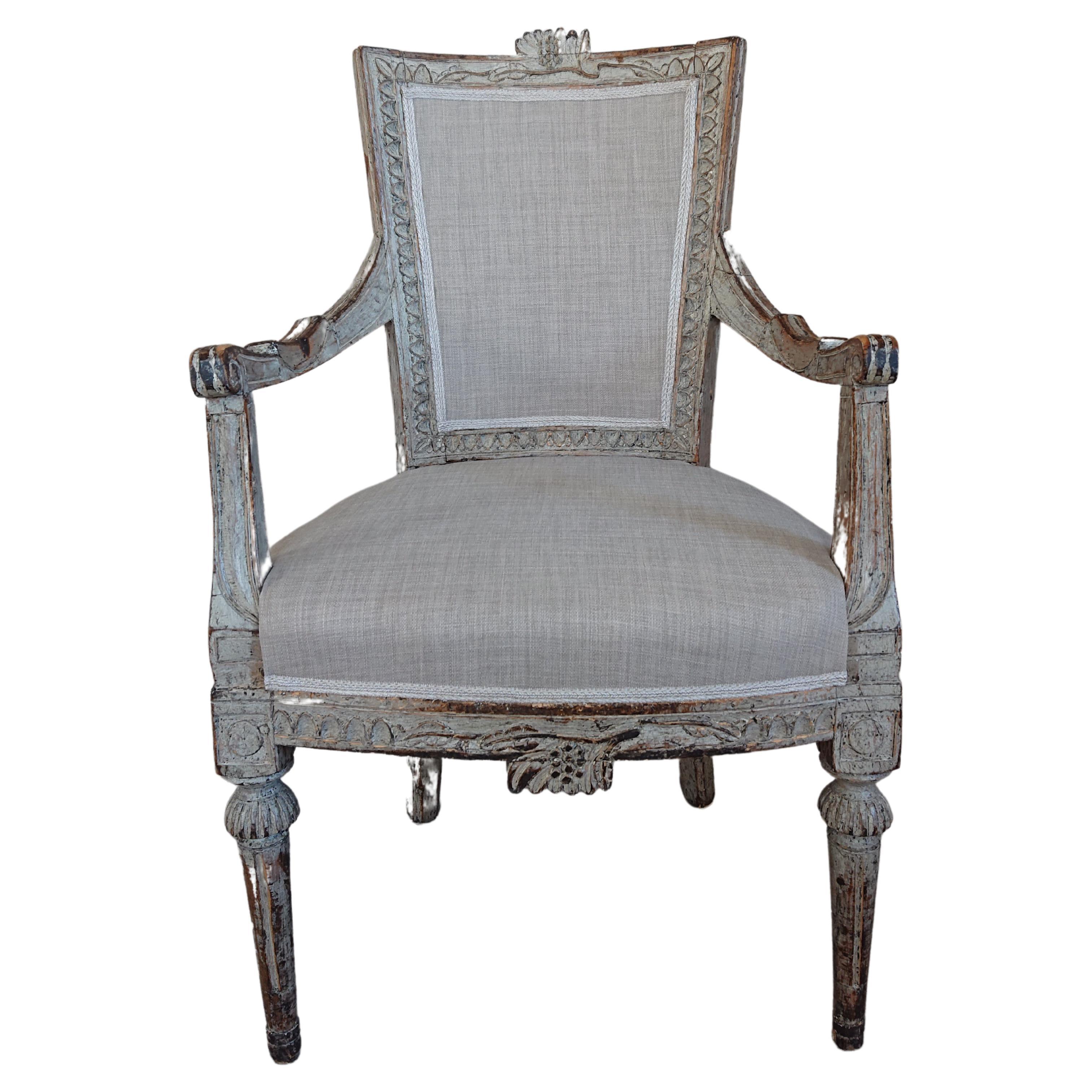 18th Century Swedish Gustavian Armchair with Originalpaint