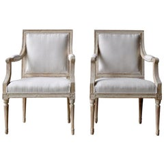 18th Century Swedish Gustavian Armchairs in Original Paint