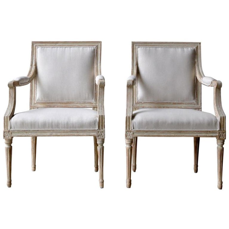 18th Century Swedish Gustavian Armchairs in Original Paint For Sale
