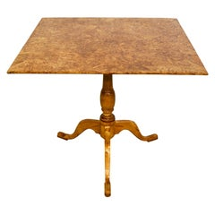 18th Century Swedish Gustavian Burl Birch Tilt-Top Square Table on Pedestal Base