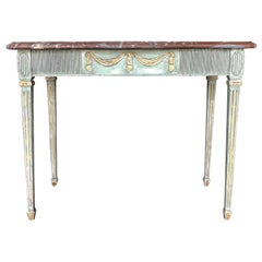 18th Century Swedish Gustavian Console Table, Freestanding Giltwood Table