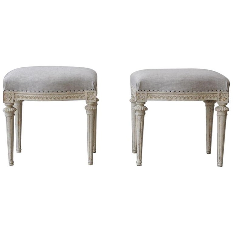 18th Century Swedish Gustavian Footstools in Original Paint by Melchior Lundberg For Sale