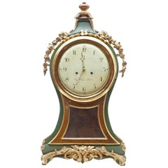 18th Century Swedish Gustavian Gilt and Painted Mantle Clock