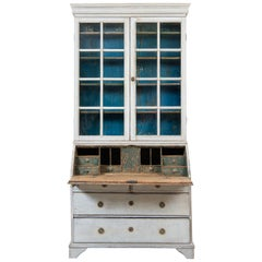 18th Century Swedish Gustavian Glass Top Writers Cabinet
