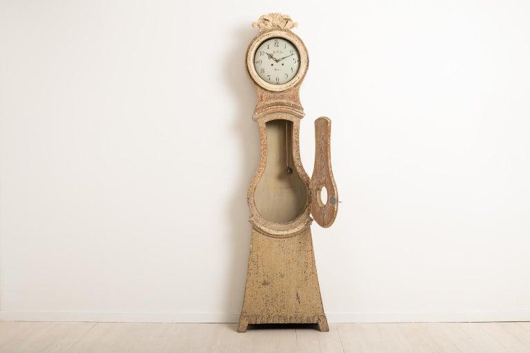 Pine 18th Century Swedish Gustavian Long Case Clock For Sale