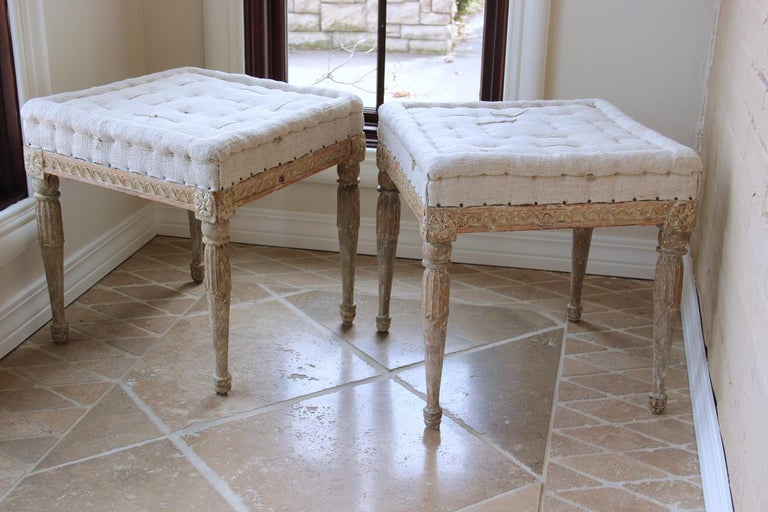 18th Century Swedish Gustavian Pair of Foot Stools or Benches in Original Paint For Sale 4