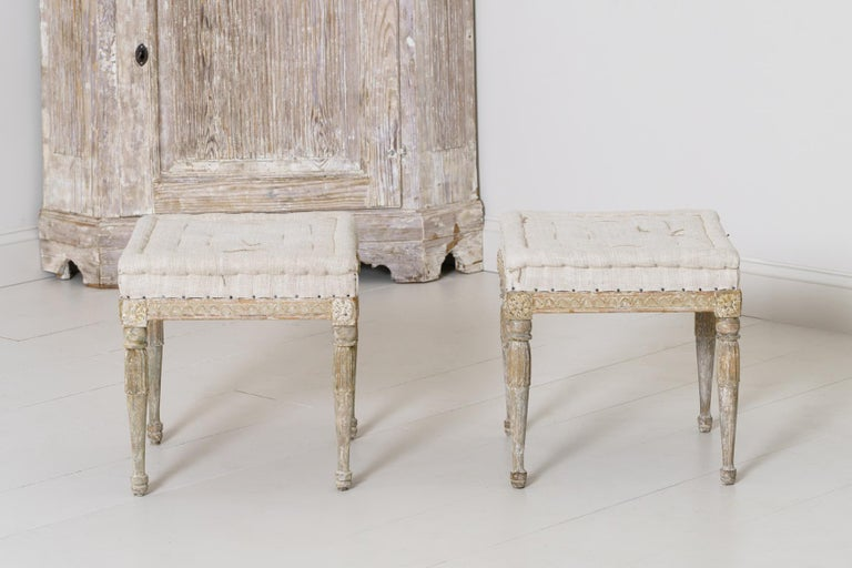 18th Century Swedish Gustavian Pair of Foot Stools or Benches in Original Paint For Sale 5