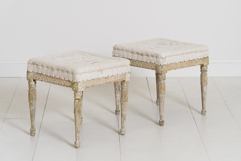 18th Century Swedish Gustavian Pair of Foot Stools or Benches in Original Paint For Sale 6