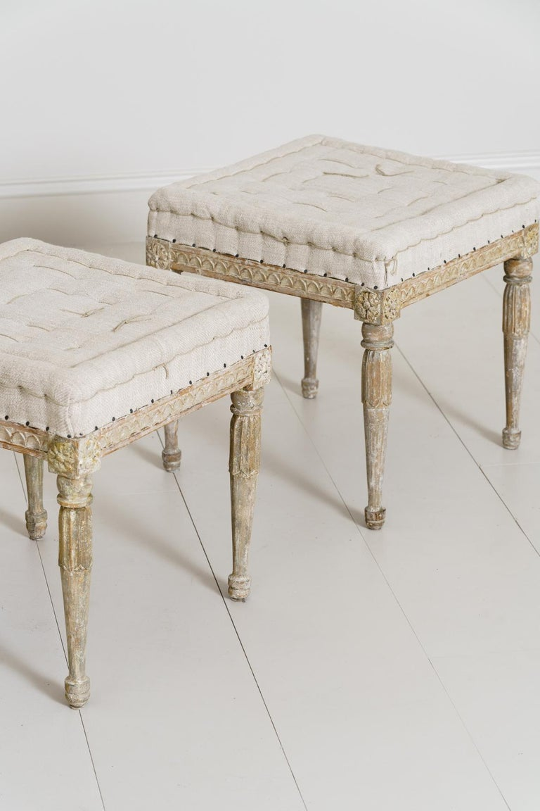18th Century Swedish Gustavian Pair of Foot Stools or Benches in Original Paint For Sale 7