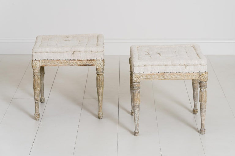 18th Century Swedish Gustavian Pair of Foot Stools or Benches in Original Paint For Sale 8