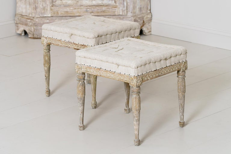18th Century Swedish Gustavian Pair of Foot Stools or Benches in Original Paint For Sale 9