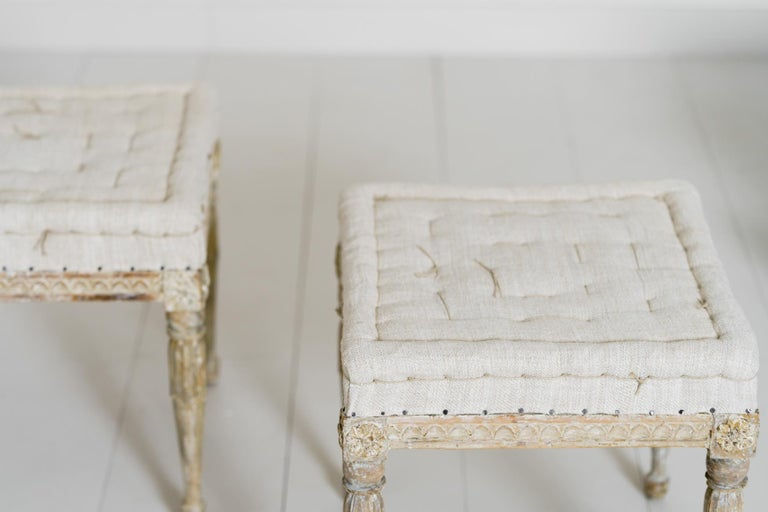 18th Century Swedish Gustavian Pair of Foot Stools or Benches in Original Paint For Sale 10