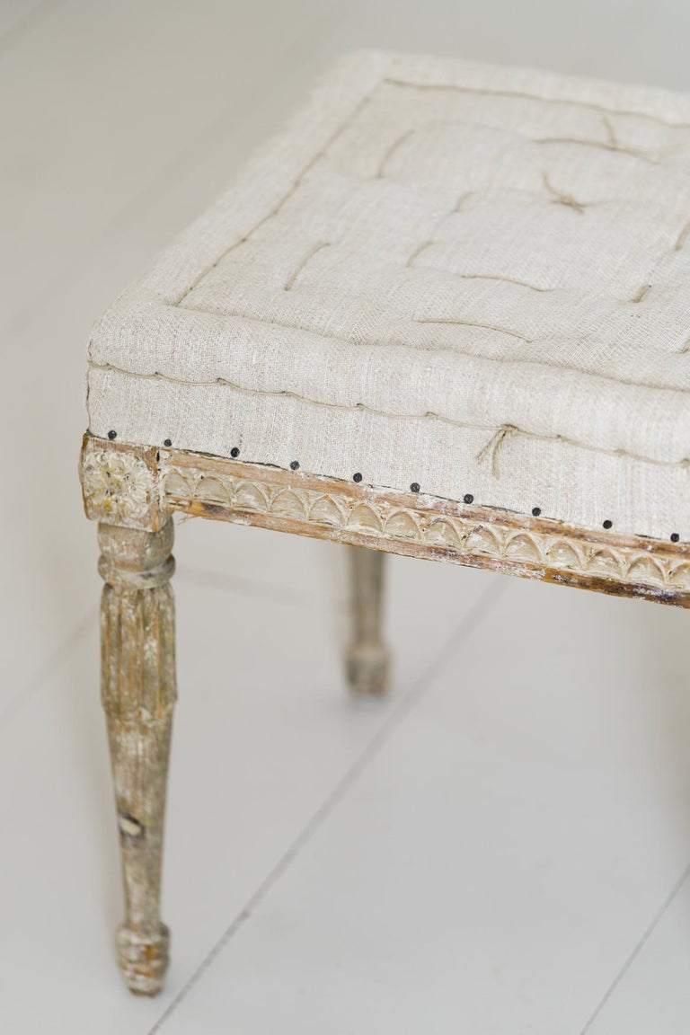 18th Century Swedish Gustavian Pair of Foot Stools or Benches in Original Paint For Sale 12