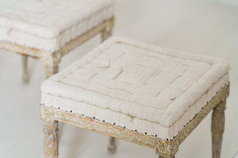 18th Century Swedish Gustavian Pair of Foot Stools or Benches in Original Paint For Sale 13