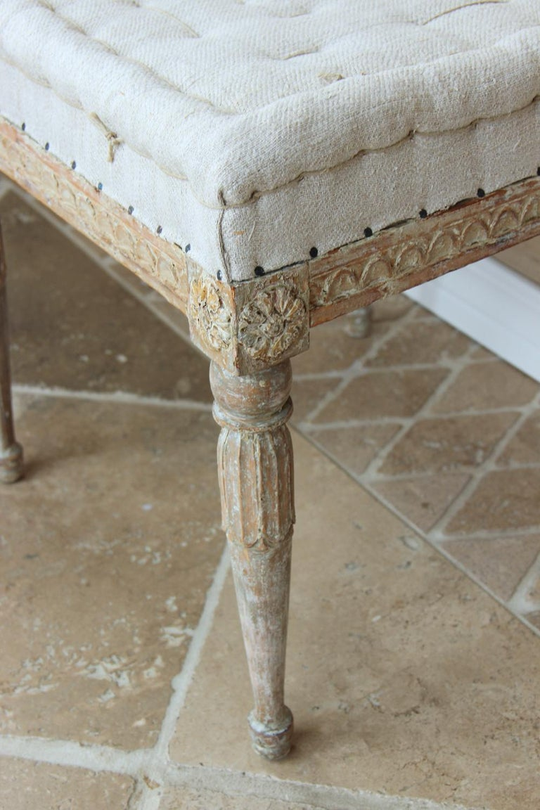 Hand-Crafted 18th Century Swedish Gustavian Pair of Foot Stools or Benches in Original Paint For Sale