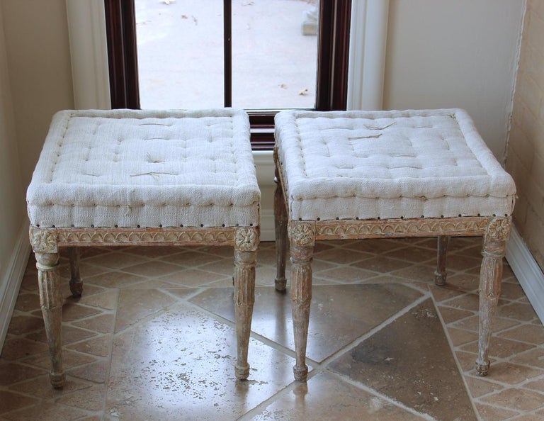 Linen 18th Century Swedish Gustavian Pair of Foot Stools or Benches in Original Paint For Sale