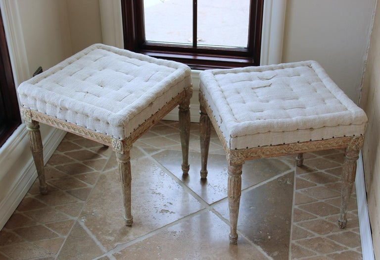18th Century Swedish Gustavian Pair of Foot Stools or Benches in Original Paint For Sale 3