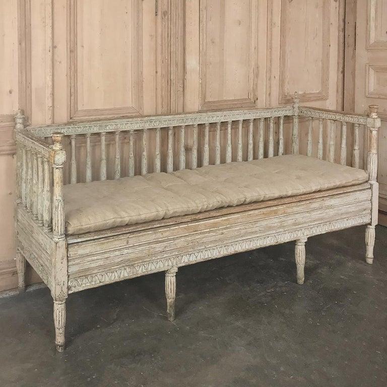 Pine 18th Century Swedish Gustavian Period Day Bed, Hall Bench, circa 1790