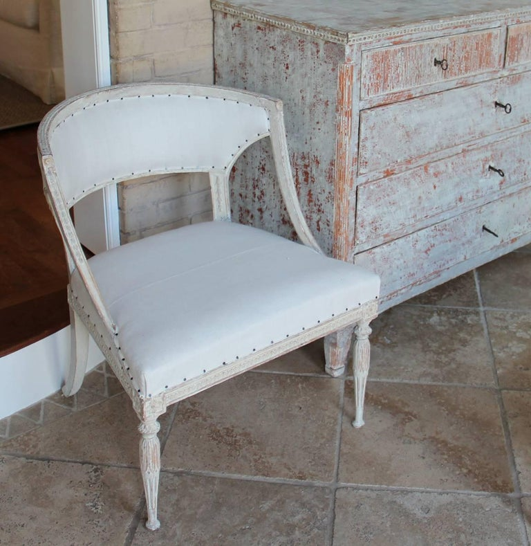 Hand-Carved 18th Century Swedish Gustavian Period Original Paint Chair Signed Ephraim Stahl For Sale