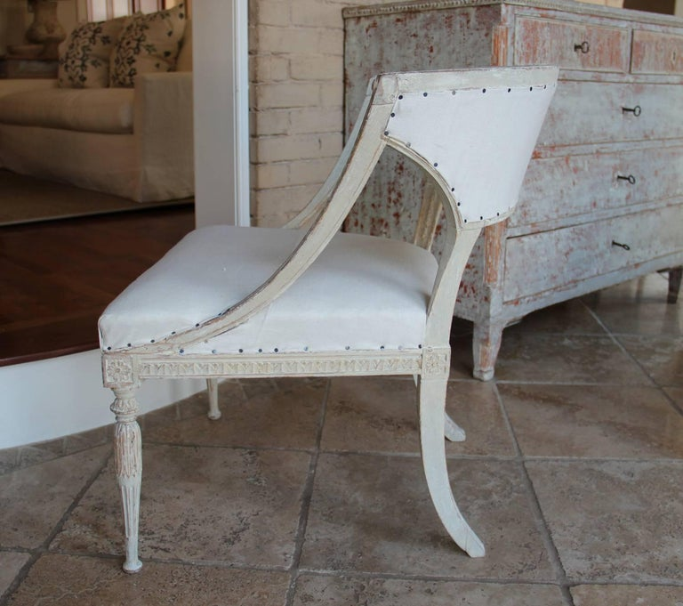 18th Century Swedish Gustavian Period Original Paint Chair Signed Ephraim Stahl In Excellent Condition For Sale In Wichita, KS
