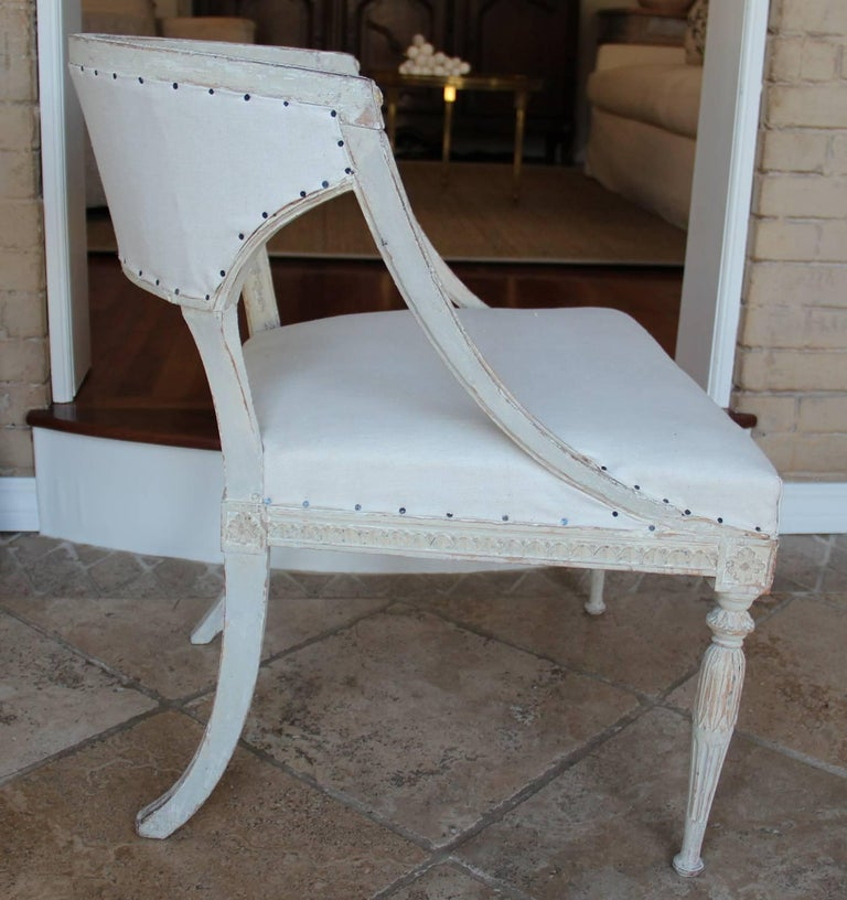 Pine 18th Century Swedish Gustavian Period Original Paint Chair Signed Ephraim Stahl For Sale