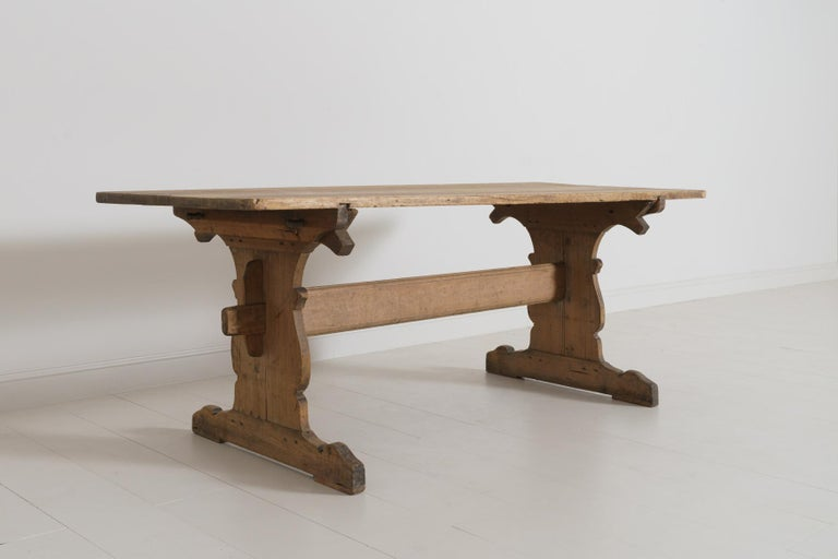 Hand-Carved 18th Century Swedish Gustavian Period Trestle Table For Sale