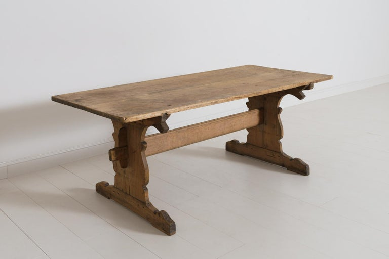 18th Century Swedish Gustavian Period Trestle Table In Good Condition For Sale In Wichita, KS