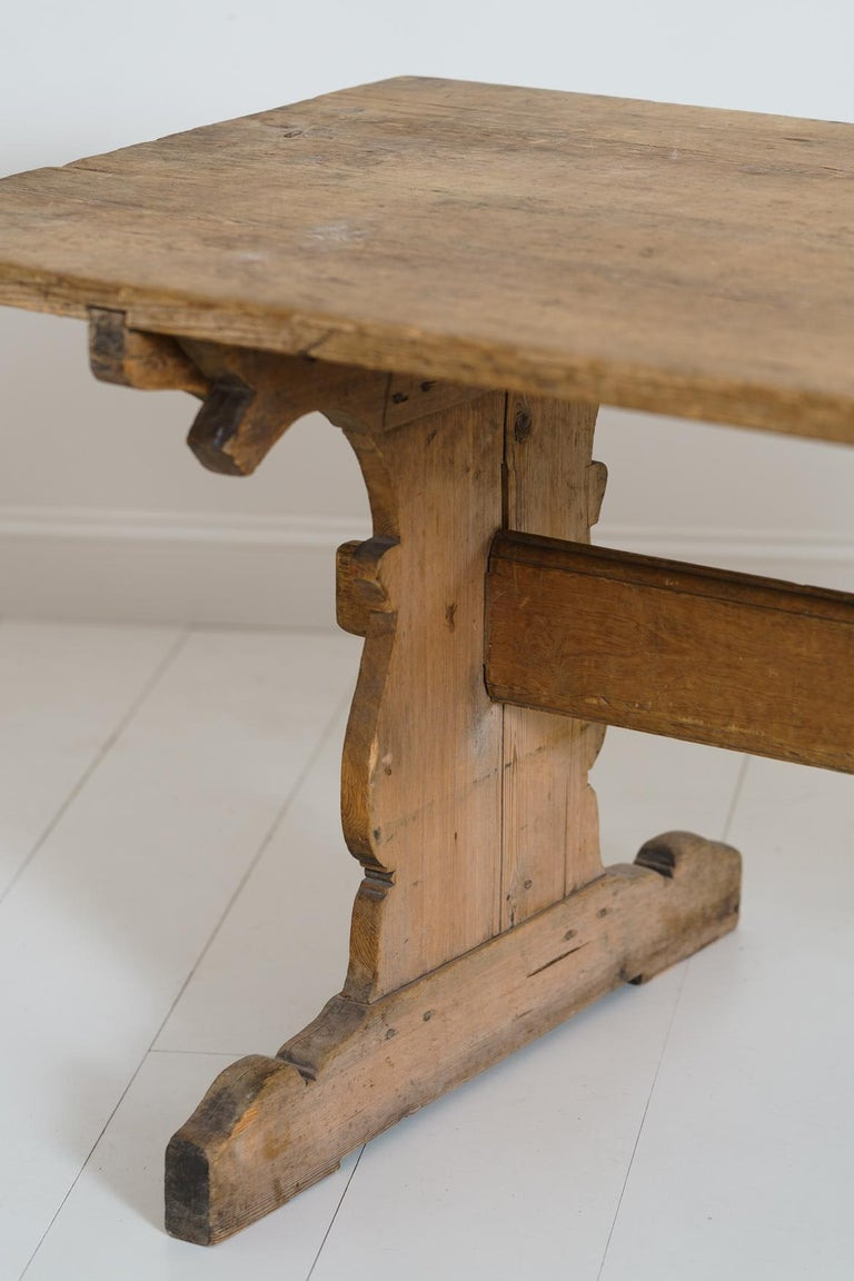 Wood 18th Century Swedish Gustavian Period Trestle Table For Sale