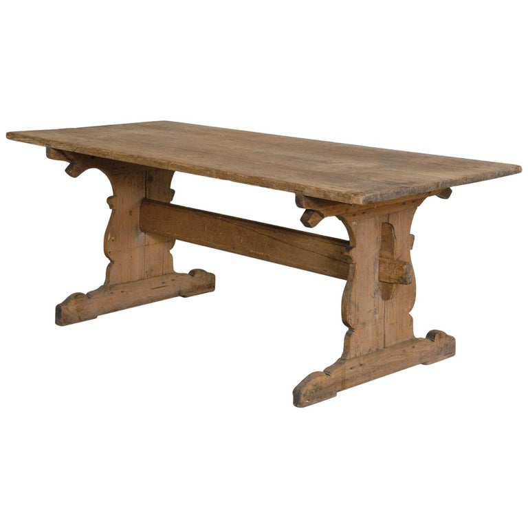 18th Century Swedish Gustavian Period Trestle Table For Sale