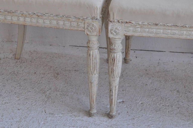 18th Century Swedish Gustavian Set of Six Original Paint Chairs from Stockholm In Excellent Condition For Sale In Wichita, KS