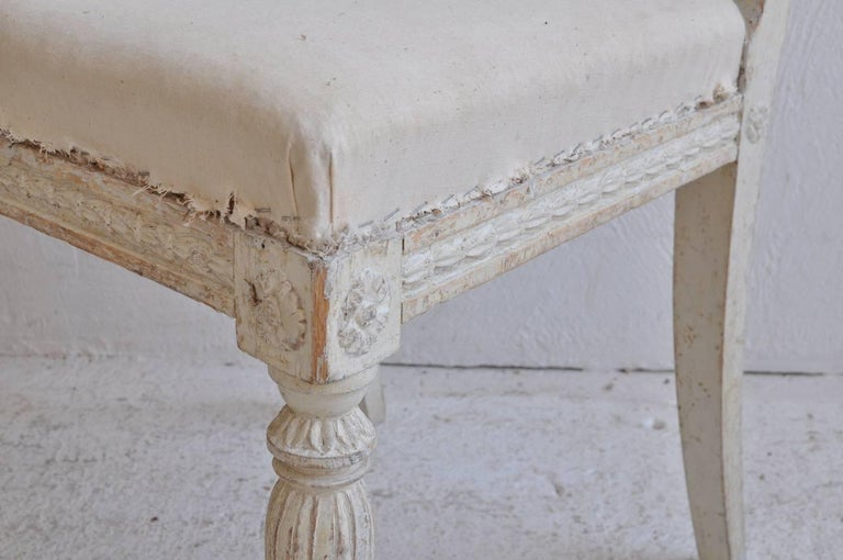18th Century and Earlier 18th Century Swedish Gustavian Set of Six Original Paint Chairs from Stockholm For Sale
