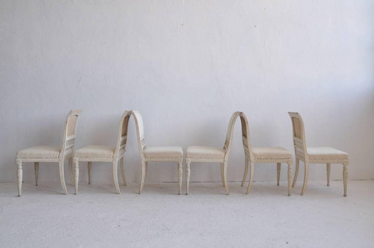 Wood 18th Century Swedish Gustavian Set of Six Original Paint Chairs from Stockholm