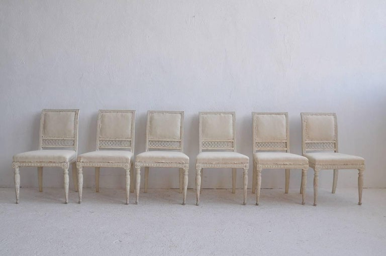 18th Century Swedish Gustavian Set of Six Original Paint Chairs from Stockholm 1