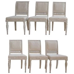 18th Century Swedish Gustavian Set of Six Original Paint Chairs from Stockholm