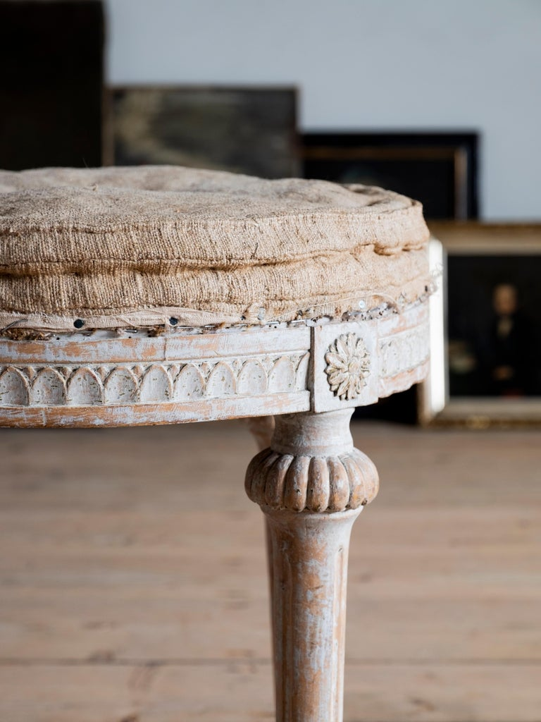 Hand-Carved 18th Century Swedish Gustavian Stools For Sale