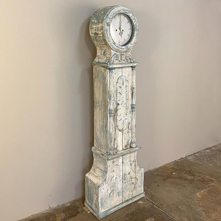 18th century Swedish long case mora clock was crafted on a diminutive scale, and in some circles would be affectionately called a
