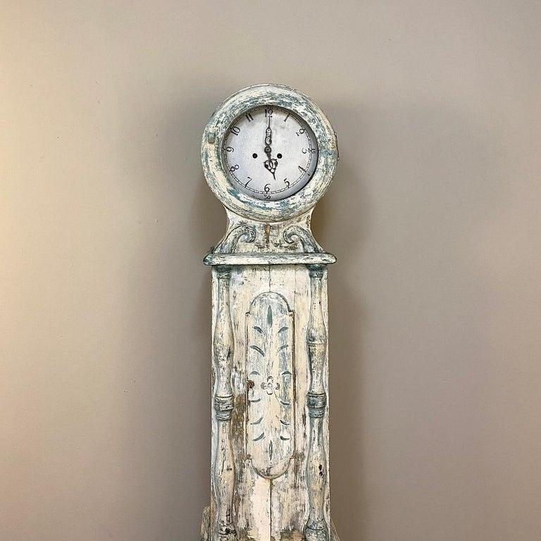 Gustavian 18th Century Swedish Long Case Mora Clock For Sale