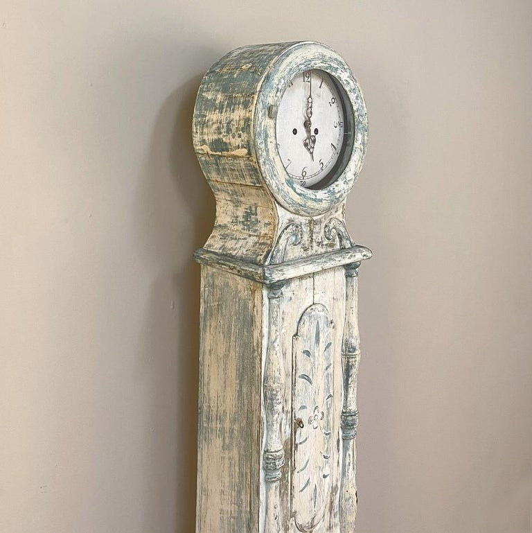 Hand-Painted 18th Century Swedish Long Case Mora Clock For Sale