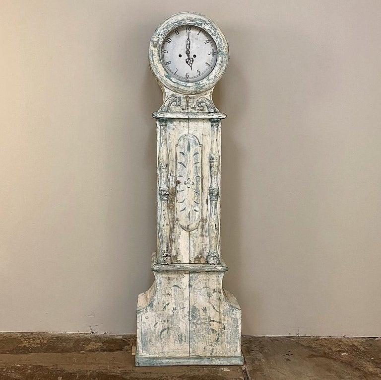18th Century Swedish Long Case Mora Clock In Good Condition For Sale In Dallas, TX