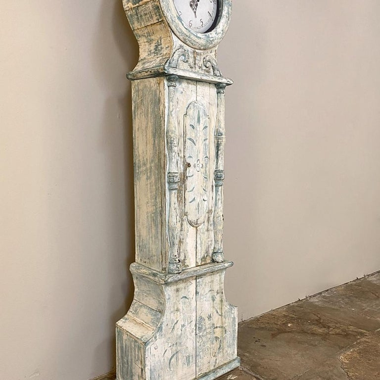Wood 18th Century Swedish Long Case Mora Clock For Sale