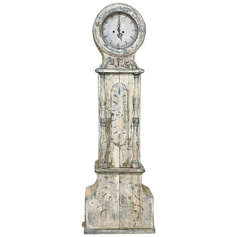 18th Century Swedish Long Case Mora Clock For Sale