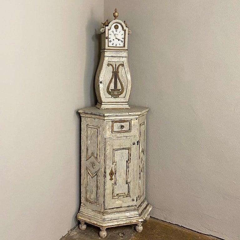 Gustavian 18th Century Swedish Mora Long Case Corner Clock For Sale