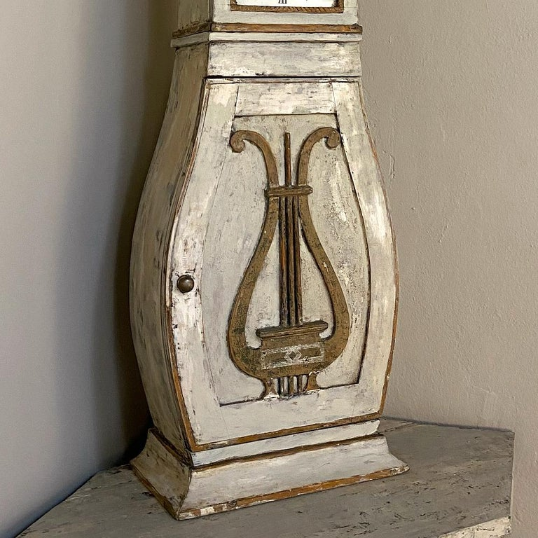 Wood 18th Century Swedish Mora Long Case Corner Clock For Sale