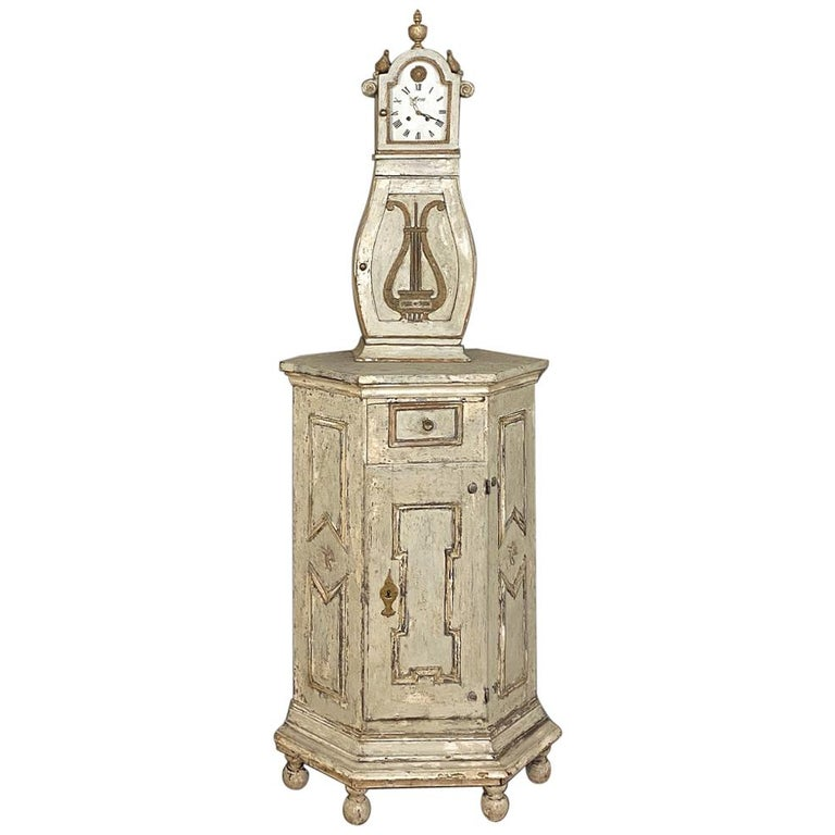 18th Century Swedish Mora Long Case Corner Clock For Sale