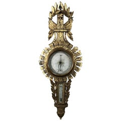 18th Century Swedish Neoclassical Giltwood Barometer, Thermometer