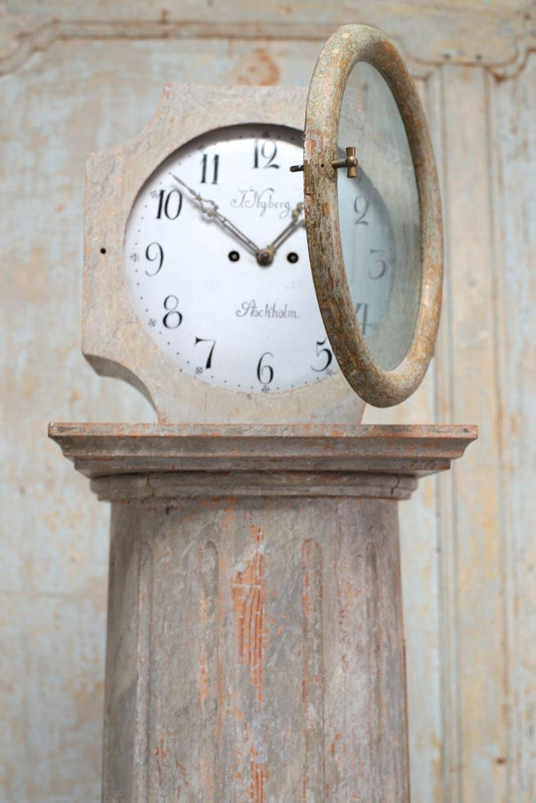 Glass 18th Century Swedish Neoclassical Working Long Case Clock in Original Paint For Sale